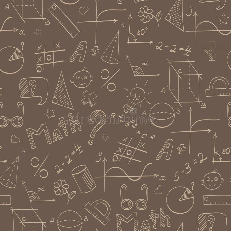 Naadloze illustratie op het thema van de school, van onderwijs en van de onderworpen wiskunde, de beige hand-drawn grafiek, vorm vector illustratie