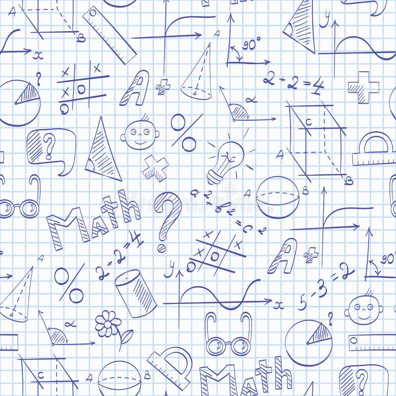 Naadloze illustratie op het thema van de school, van onderwijs en van de onderworpen wiskunde, de blauwe hand-drawn grafiek, form royalty-vrije illustratie