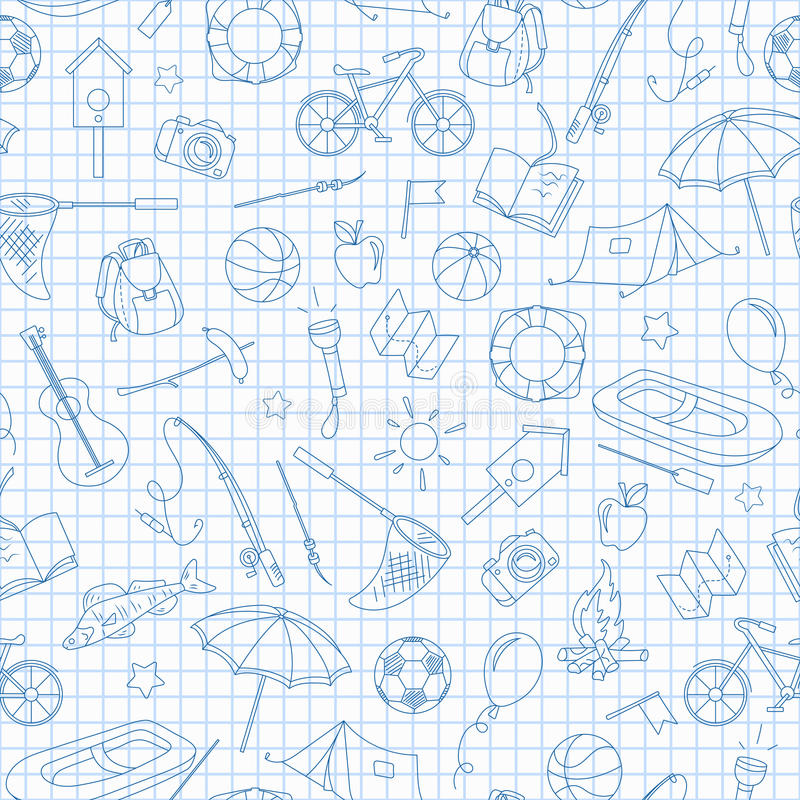 Naadloze illustratie op het thema van de zomerkamp en vakanties, eenvoudige contourpictogrammen, blauwe contourpictogrammen op sc stock afbeeldingen