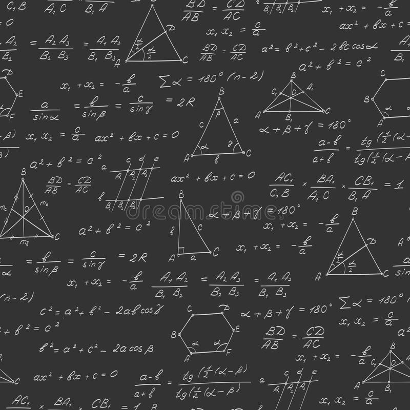 Naadloze illustratie op het thema van het onderwerp van meetkunde, formules, en grafieken van stellingen, een helder overzicht op vector illustratie