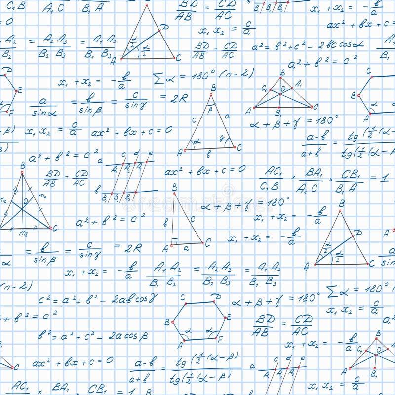 Naadloze illustratie op het thema van het onderwerp van meetkunde, formules, en grafiekenstellingen op het notitieboekjeblad in e royalty-vrije illustratie
