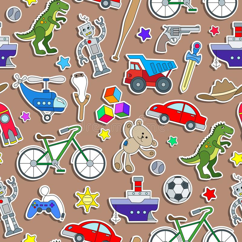 Naadloze illustratie op het thema van kinderjaren en speelgoed, speelgoed voor jongens, stickerspictogrammen op bruine achtergron royalty-vrije illustratie