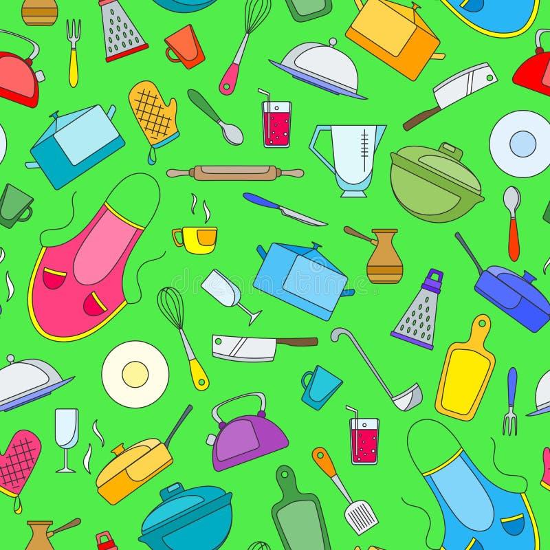 Naadloze illustratie op het thema van het koken en keukengerei, eenvoudige geschilderde pictogrammen op groene achtergrond royalty-vrije illustratie