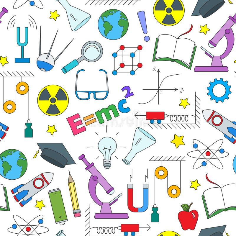 Naadloze illustratie op het thema van het onderwerp van fysicaonderwijs, eenvoudige gekleurde pictogrammen op witte achtergrond royalty-vrije illustratie