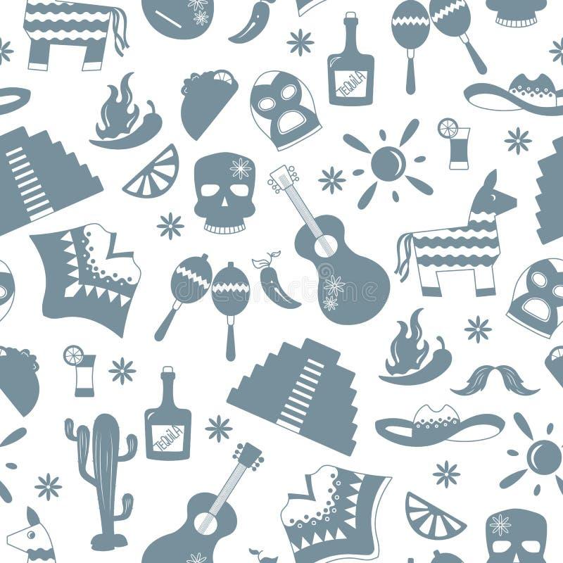 Naadloze illustratie op het thema van recreatie in het land van Mexico, grijze silhouetten van pictogrammen op witte achtergrond stock illustratie