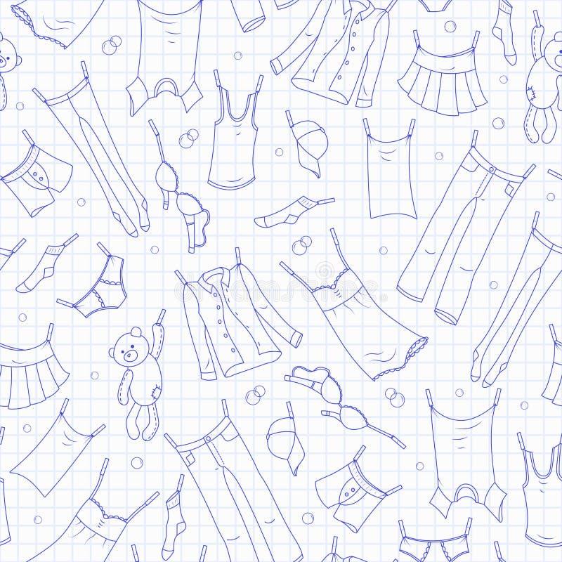 Naadloze illustratie op het thema van was en netheid, diverse kleren, blauwe contourpictogrammen op het schone sh schrijven-boek stock illustratie