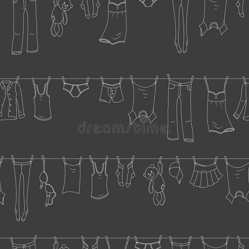 Naadloze illustratie op het thema van was en netheid, diverse kleren, een lichte contourpictogrammen op donkere achtergrond stock illustratie