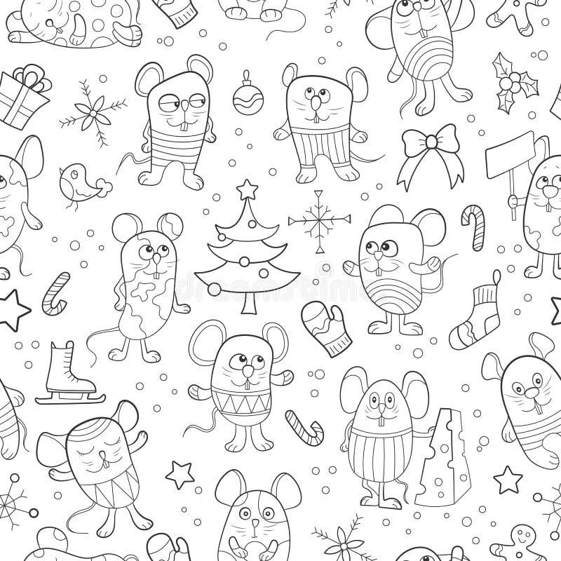 Naadloze illustratie voor nieuwe jaarvakantie, beeldverhaal grappige muizen en sneeuwvlokken op een blauwe achtergrond stock illustratie