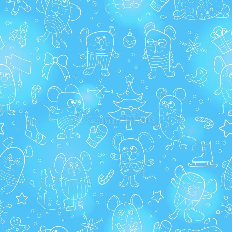 Naadloze illustratie voor nieuwe jaarvakantie, beeldverhaal grappige muizen en sneeuwvlokken witte contour op blauw vector illustratie