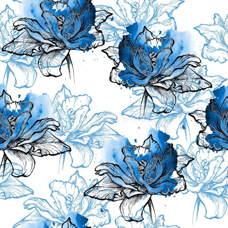 Naadloze indigo bloemenachtergrond stock illustratie
