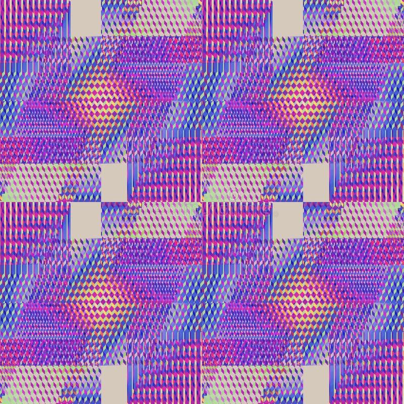 Naadloze ingewikkelde diamant en van het vierkantenpatroon violette purpere oranje grijs vector illustratie