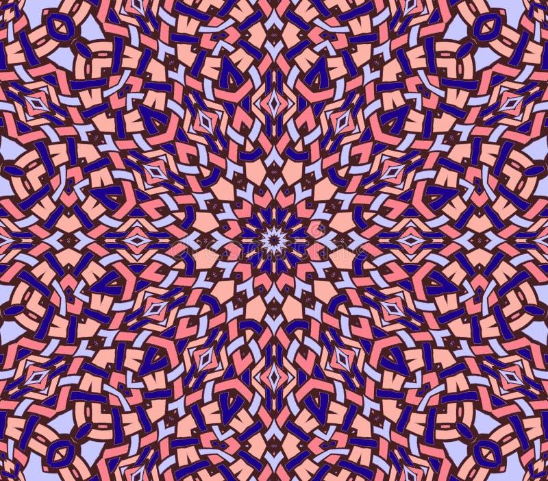 Naadloze ingewikkelde ronde rode purple van de ornamentpastelkleur vector illustratie