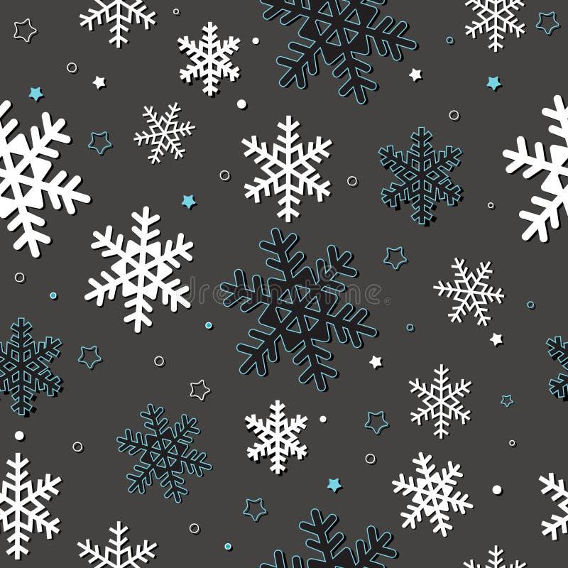Naadloze kaart met sneeuwvlokken royalty-vrije illustratie