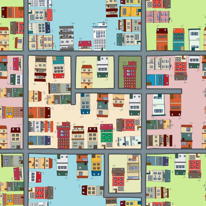 Naadloze kaart van stad royalty-vrije illustratie
