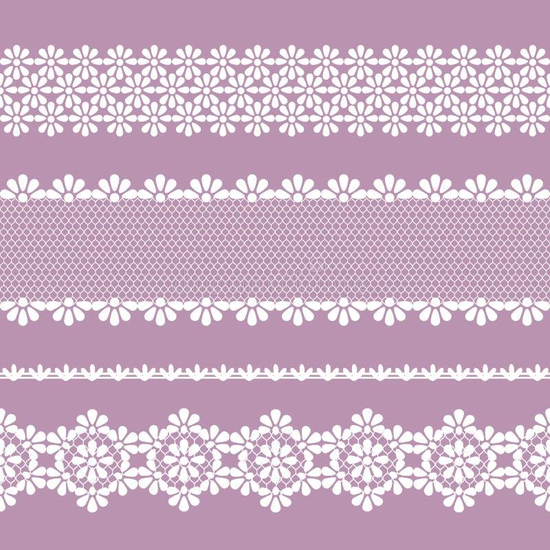 Naadloze kantvlecht, lilac en witte kleur royalty-vrije illustratie