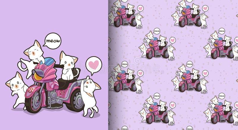 Naadloze kawaiikatten en motorpatroon met drie wielen royalty-vrije illustratie