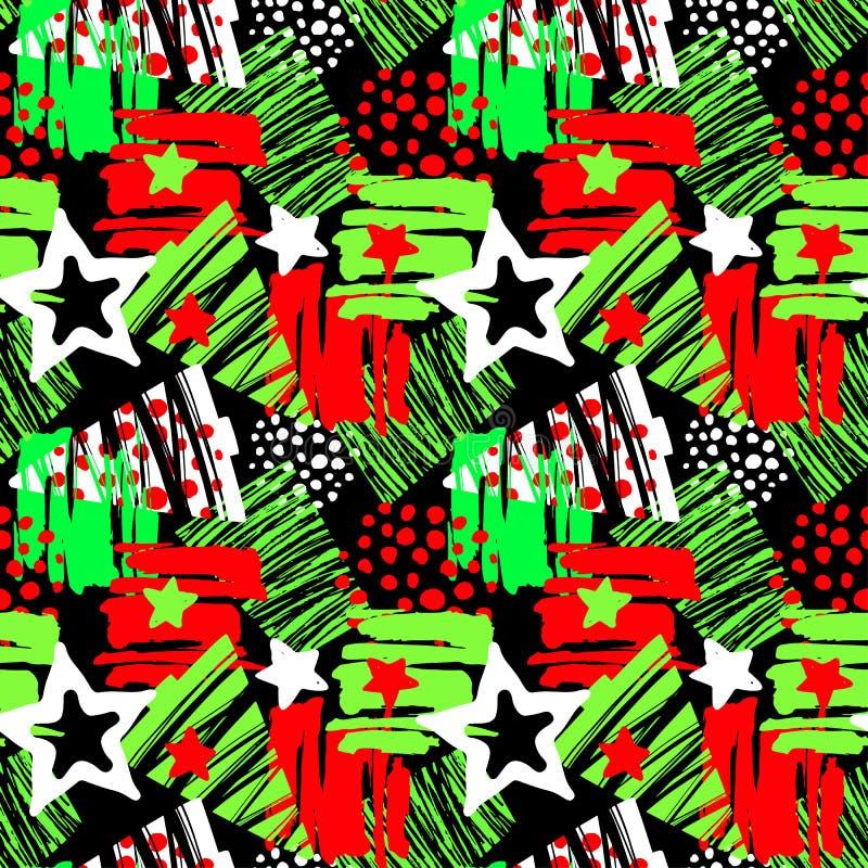 Naadloze Kerstmis die expressief de inktpatroon herhalen van de handambacht royalty-vrije illustratie