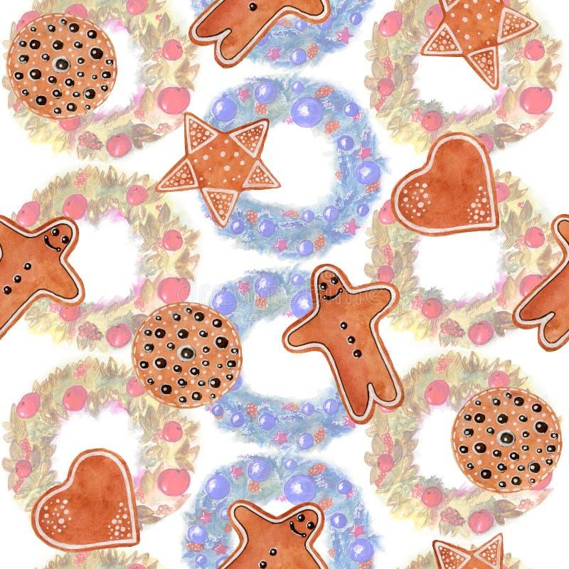 Naadloze Kerstmisreeks van de patroonwaterverf koekjes met de peperkoekmens, ster, hart, een cirkel op achtergrond met kroon royalty-vrije illustratie