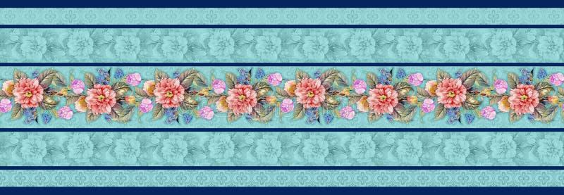 Naadloze klassieke bloemgrens met bloemenachtergrond stock illustratie
