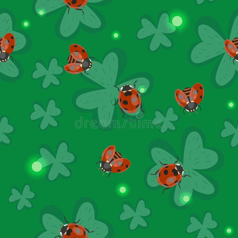 Naadloze klavertextuur met lieveheersbeestjes Vector patroon royalty-vrije illustratie