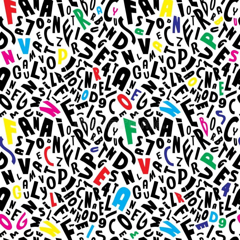 Naadloze kleur op het witte patroon van alfabetbrieven royalty-vrije illustratie