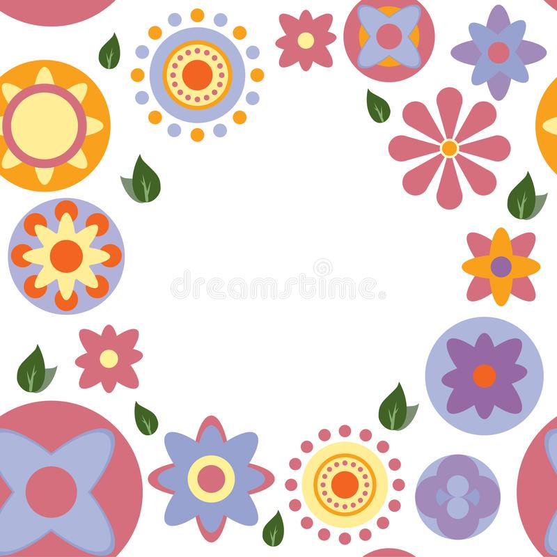 Naadloze kleuren bloemenkaart op witte achtergrond stock illustratie