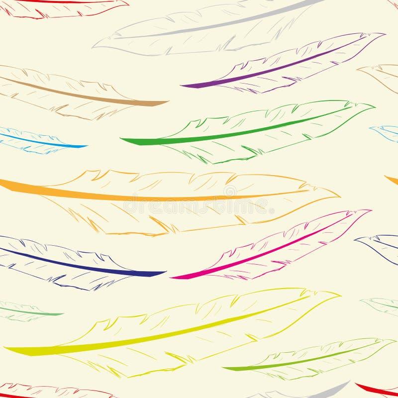 Naadloze kleurencontouren van veren stock illustratie
