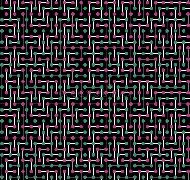 Naadloze kleurentextuur, die in de vorm van een complex kleurenpatroon wordt gemaakt op een zwarte achtergrond stock illustratie