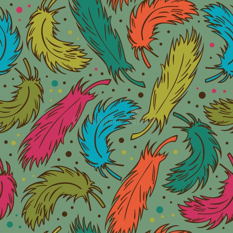 Naadloze kleurrijke achtergrond met pluimen Decoratief krabbelpatroon met veren vector illustratie