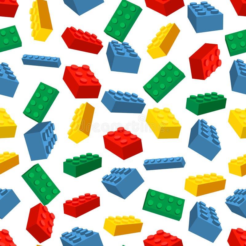 Naadloze kleurrijke die achtergrond van Lego-stukken wordt gemaakt royalty-vrije illustratie