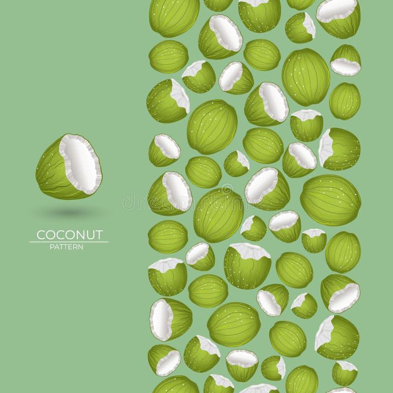 Naadloze kokosnotenborstel royalty-vrije illustratie