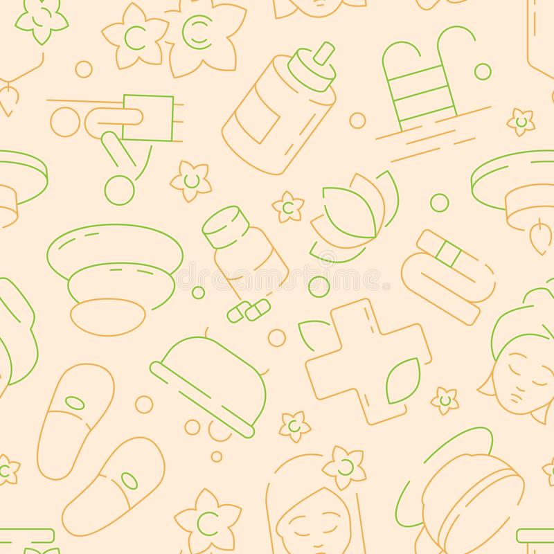 Naadloze kuuroordschoonheid Ontspan van de de geurmassage van de therapieaard kruiden textiel het patroon vectormalplaatje stock illustratie