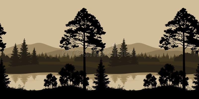 Naadloze landschap, bomen, rivier en bergen royalty-vrije illustratie