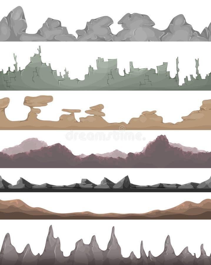 Naadloze Landschapsgronden voor Spel Ui stock illustratie
