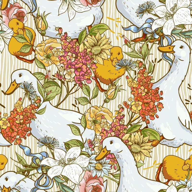 Naadloze leuke achtergrond met eenden en bloemen vector illustratie