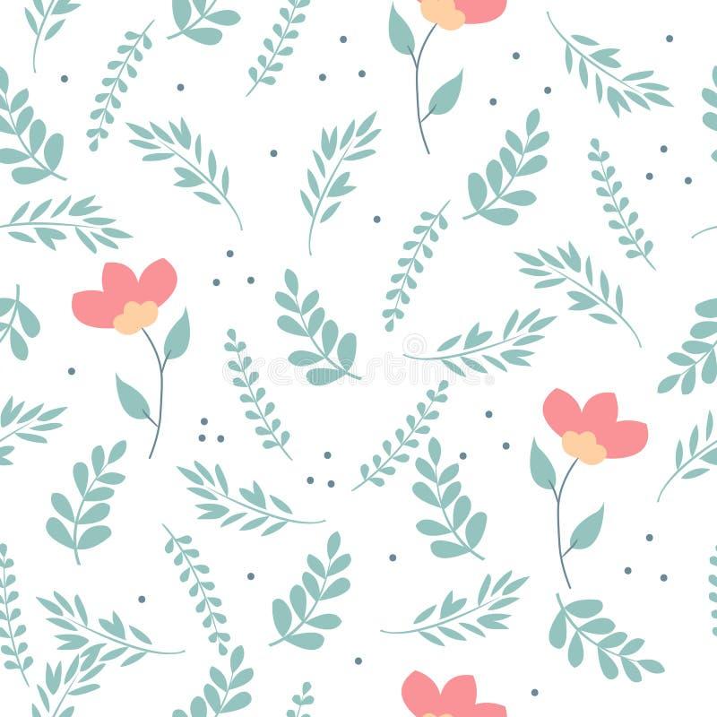 Naadloze leuke bloemen vectorpatroonachtergrond Het patroon van de bloem op witte achtergrond royalty-vrije illustratie
