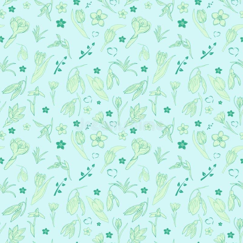 Naadloze lichtblauwe patroon bloemenkrabbel stock illustratie