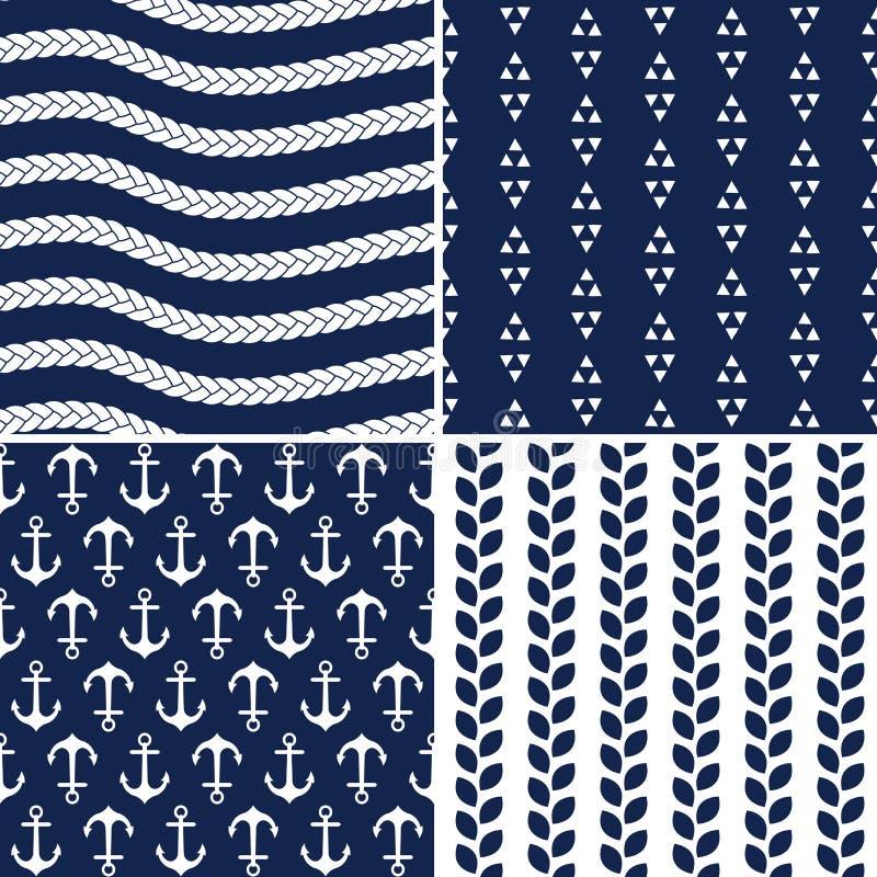 Naadloze marine en witte zeevaartpatronen vector illustratie