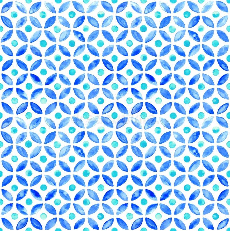 Naadloze Marokkaanse waterverf circlular tegel - marine en aqua royalty-vrije illustratie