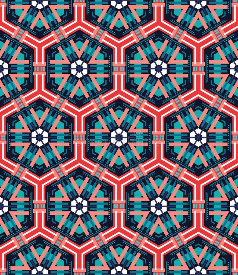 Naadloze mozaïek vlakke blauwe achtergrond stock illustratie