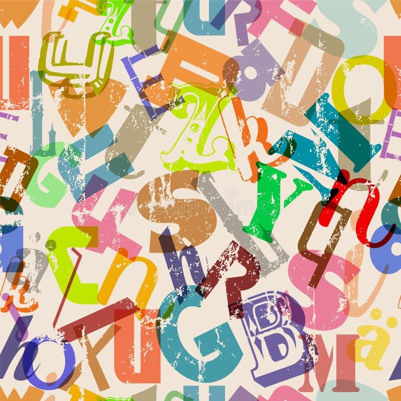 Naadloze multicolored brieven, alfabetachtergrond, grungy stijl, vector vector illustratie