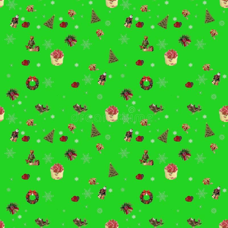 Naadloze, nieuwe jaarachtergrond voor vakantiedecoratie Kalk groene kleur stock illustratie