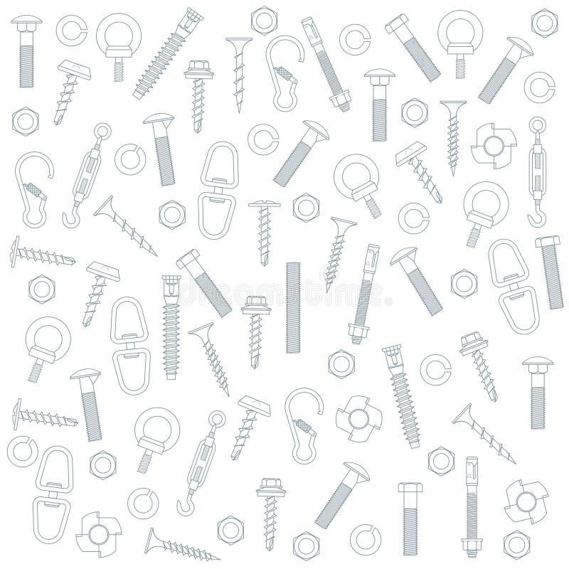 Naadloze noten - en - bouten stock illustratie