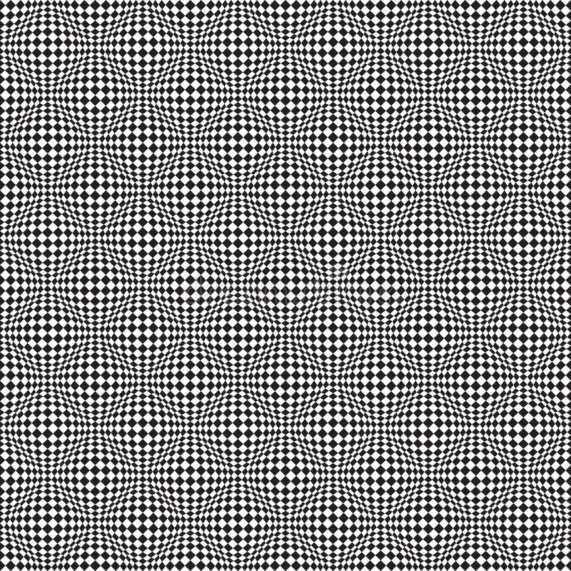 Naadloze Op Art Distortion Pattern in Vectorformaat stock illustratie