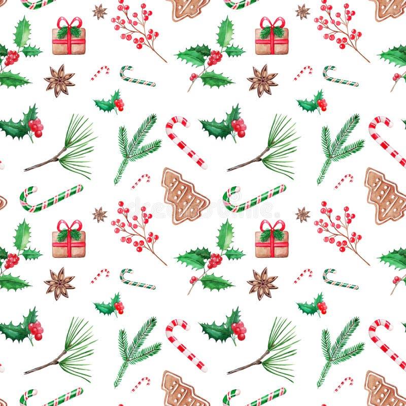 Naadloze patern Kerstmisillustratie, hand getrokken waterverf D stock illustratie