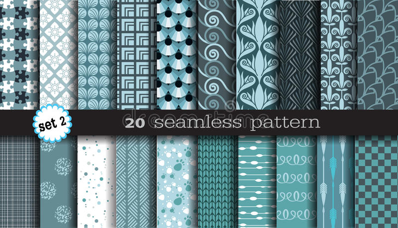 20 naadloze patronen vector illustratie