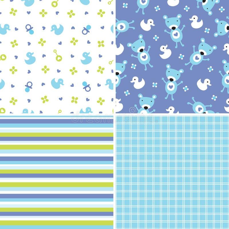 Naadloze patronen als achtergrond in blauw en groen vector illustratie
