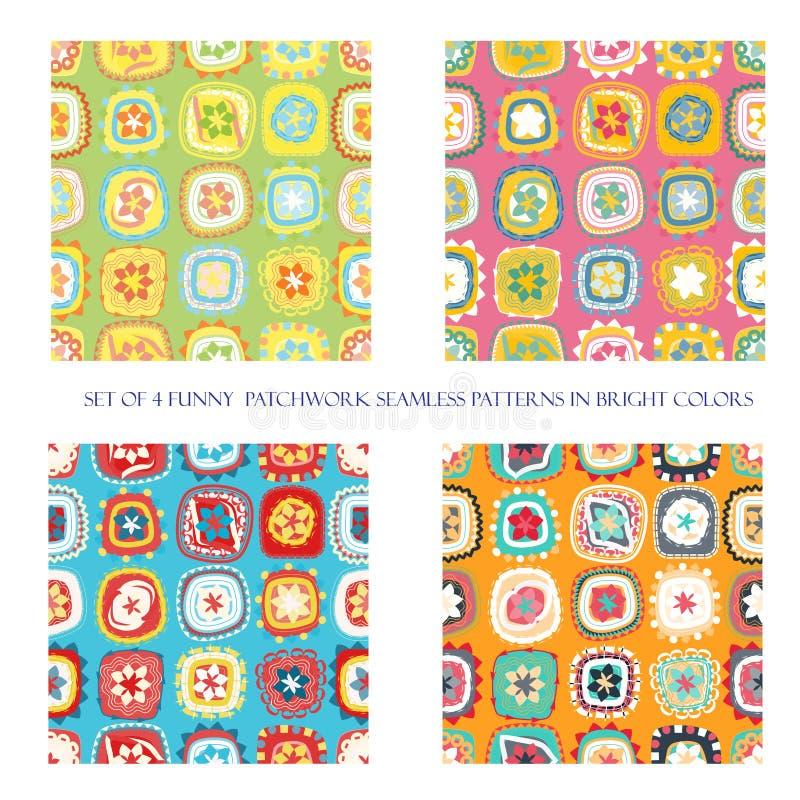 Naadloze patronen in heldere kleuren royalty-vrije illustratie