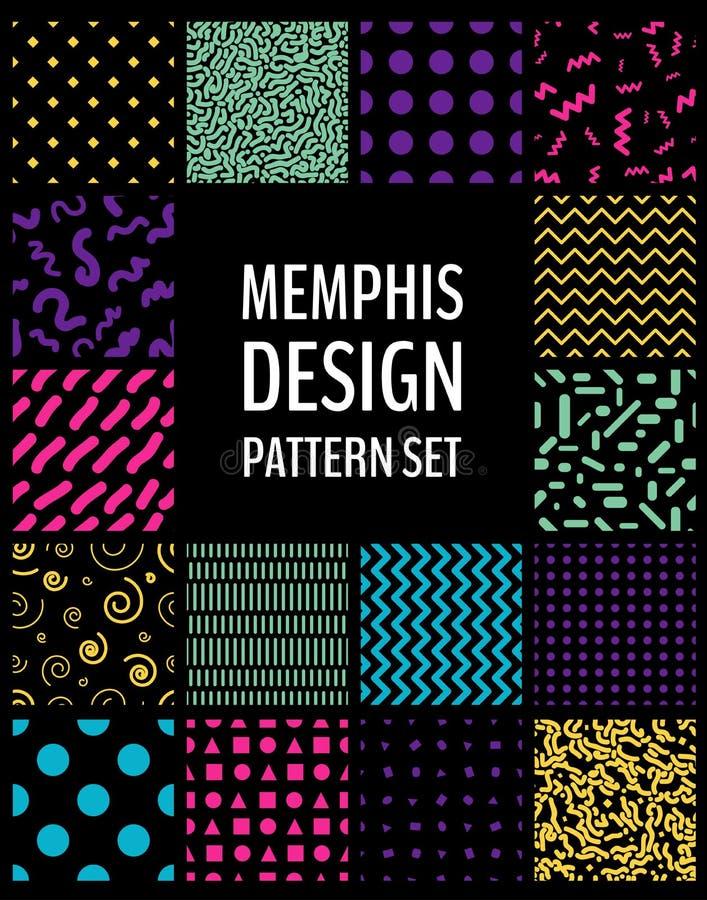 Naadloze patronen in Memphare-ontwerp royalty-vrije stock afbeeldingen
