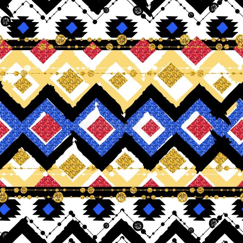 Naadloze patronen met blauw, zwarte, goud, zigzaglijnen stock illustratie